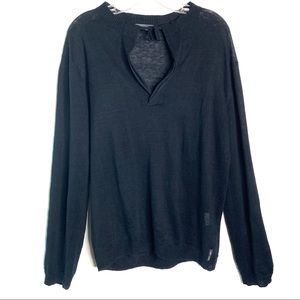 Armani Exchange linen split v neck long sleeve